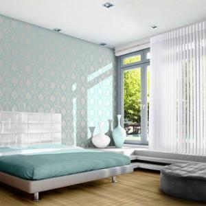 """dormitor cu jaluzele verticale tip perdea """"double shade"""""""