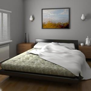 dormitor umbrit cu jaluzele orizontale din aluminiu